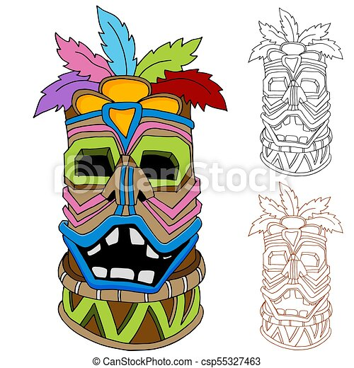 an image of a tiki tribal idol cartoon drawing set clip art vector rh canstockphoto com tribal clip art starfish tribal clip art free