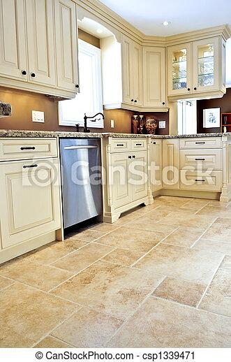 Tile floor in modern kitchen - csp1339471