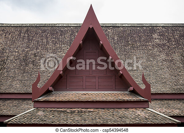 Tile Roof Thai Old Style Design For Background