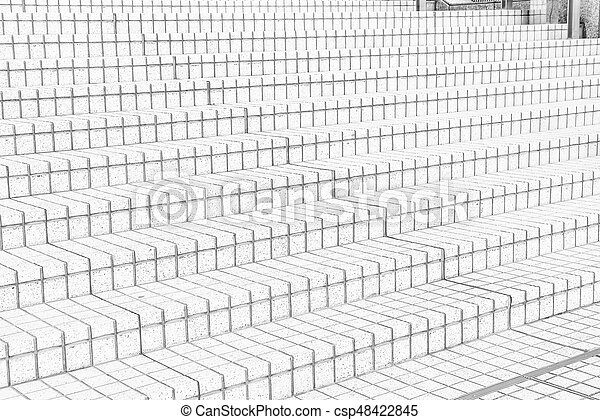 tile stairs in black and white tone - csp48422845