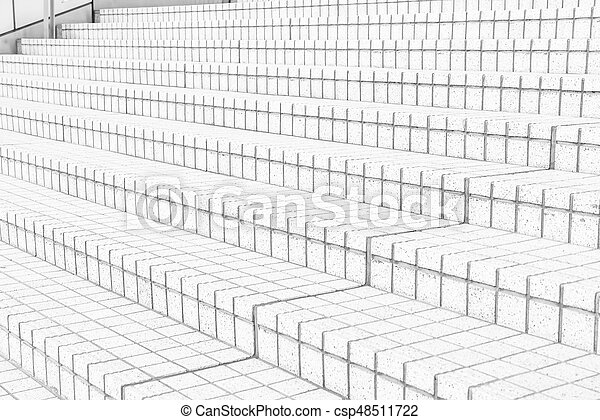 tile stairs in black and white tone - csp48511722