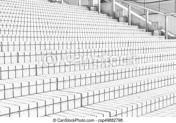 tile stairs in black and white tone - csp49882798