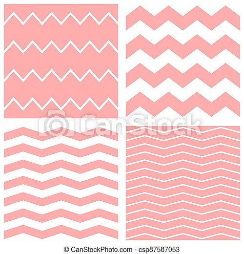 Tile vector pattern set with white and pink zig zag background - csp87587053