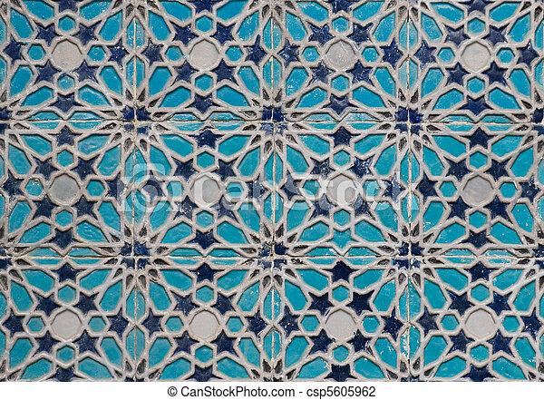 Tiled background, oriental ornaments from Uzbekistan Tiled backg - csp5605962