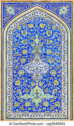 tiled background, oriental ornaments from Isfahan Mosque, Iran - csp5545943