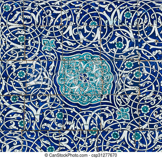 Tiled background with oriental ornaments - csp31277670