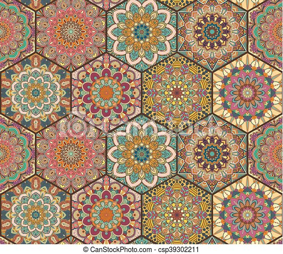Tiles pattern from colorful hexagon. Colorful tiles boho... vector ...