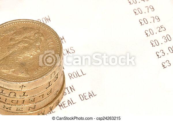 Till Receipt And Cash - csp24263215