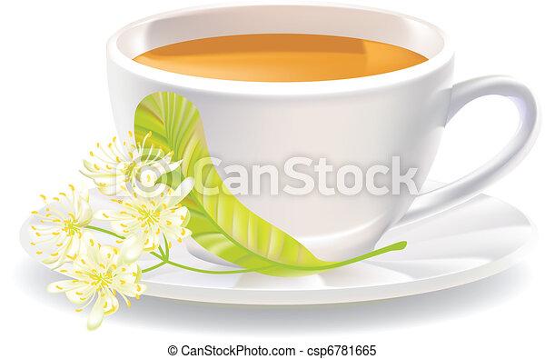 tilleul, illustration., tasse, vecteur, tea., fleurs - csp6781665