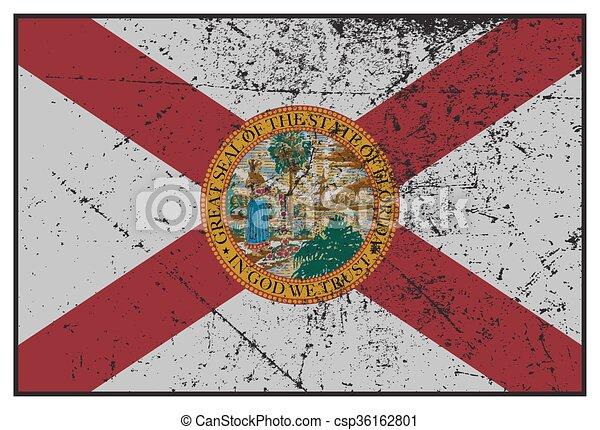 tillstånd, florida flagg, grunged - csp36162801