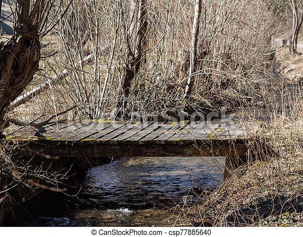 Timber bridge over little creek in springtime - csp77885640