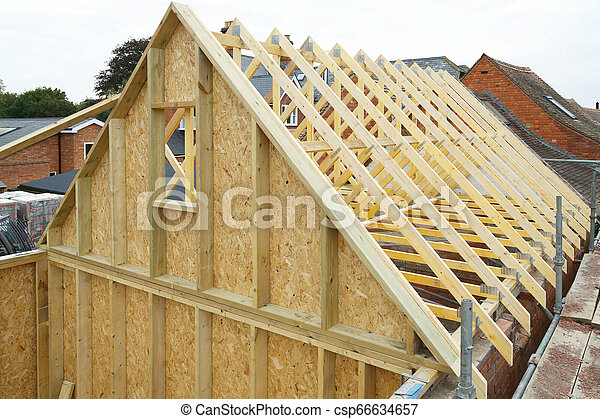 Timber Frame House Roof Gable And Wooden Roof Trusses To A Timber