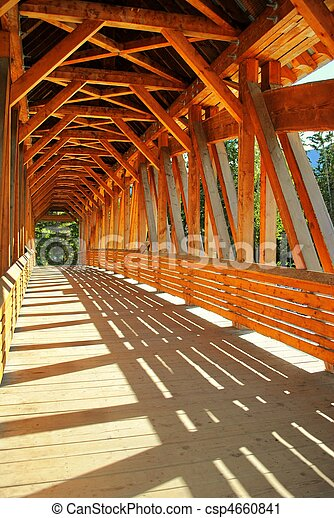 Timber frame wooden bridge interior view of a timber for Timber frame bridge
