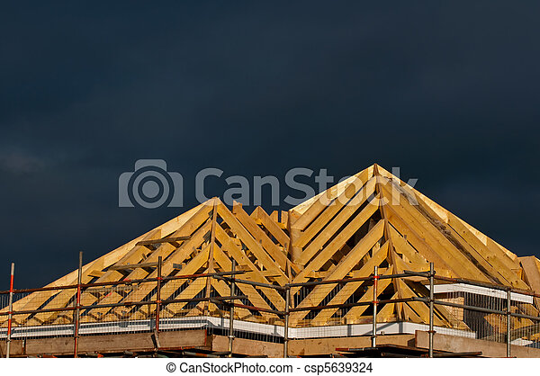 timber roof construction - csp5639324