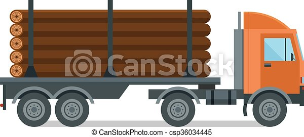 Timber wood truck vector illustration isolated - csp36034445