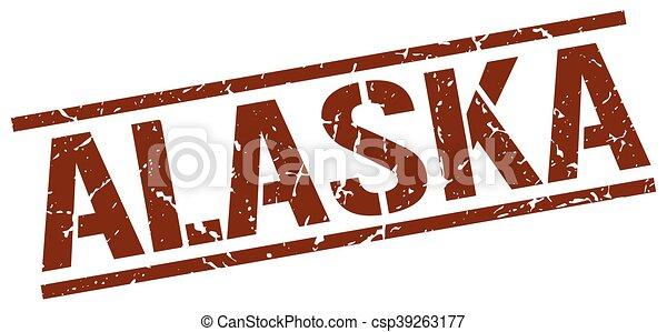 timbre, brun, carrée, alaska - csp39263177