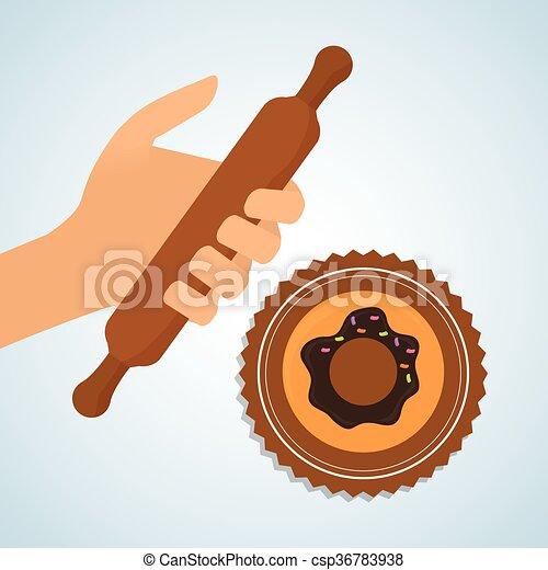 timbre, illustration, boulangerie, cachet, icon., pain, design. - csp36783938