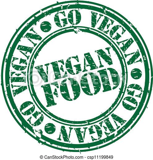 timbre nourriture, grunge, vegan, vec, caoutchouc - csp11199849