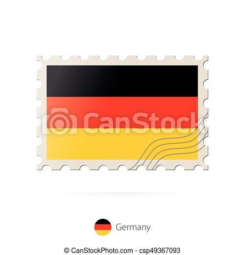 timbre postal, image, allemagne, flag. - csp49367093