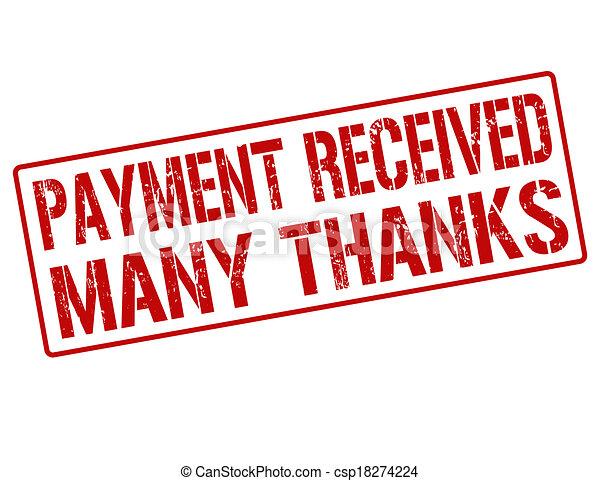 timbre, reçu, beaucoup, remerciement, paiement - csp18274224