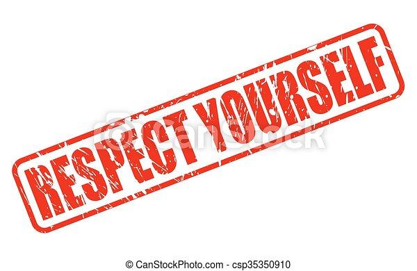 timbre, respect, vous-même, rouges, texte - csp35350910