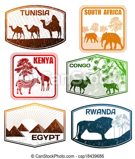 timbres, africaine, divers, pays - csp18439686