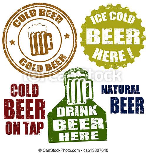 timbres, bière froide - csp13307648