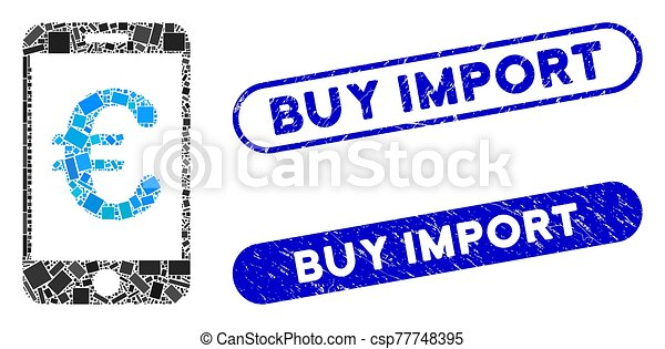 timbres, collage, mobile, paiement, euro, importation, achat, grunge, rectangle - csp77748395