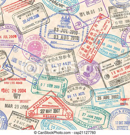 timbres, passeport, seamless, texture - csp21127760