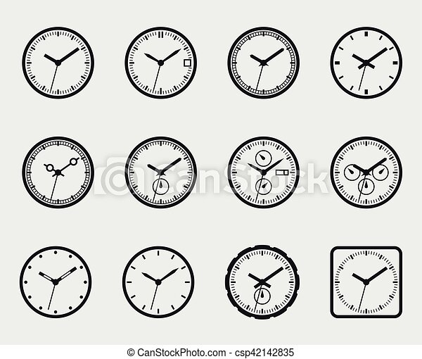 Time and clock icon set vector - csp42142835