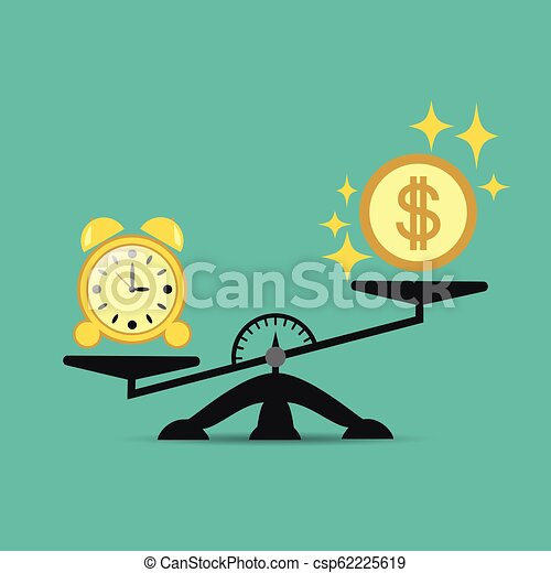 Time and money on the scales, business success. Vector concept. Time is expensive. Illustration for your projects. - csp62225619