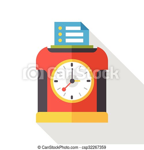 Time clock flat icon - csp32267359
