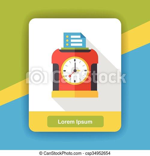 Time clock flat icon - csp34952654