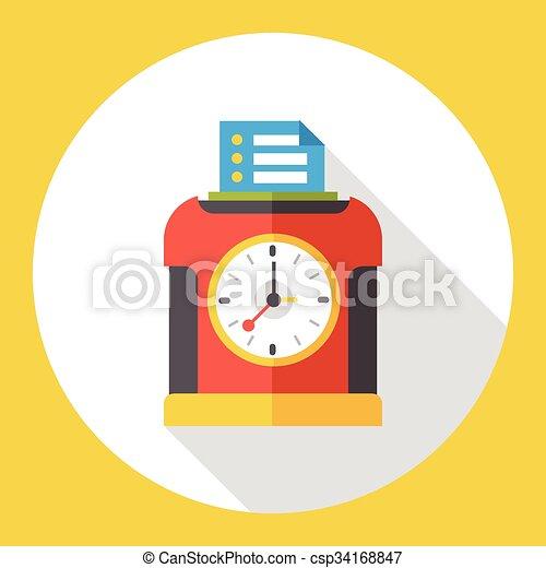 Time clock flat icon - csp34168847