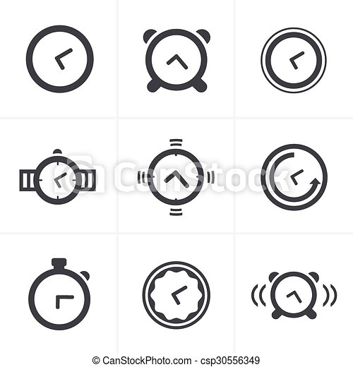 Time Clock Icons Set, Vector Design - csp30556349