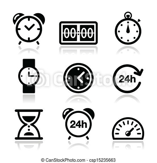 Time, clock vector icons set - csp15235663