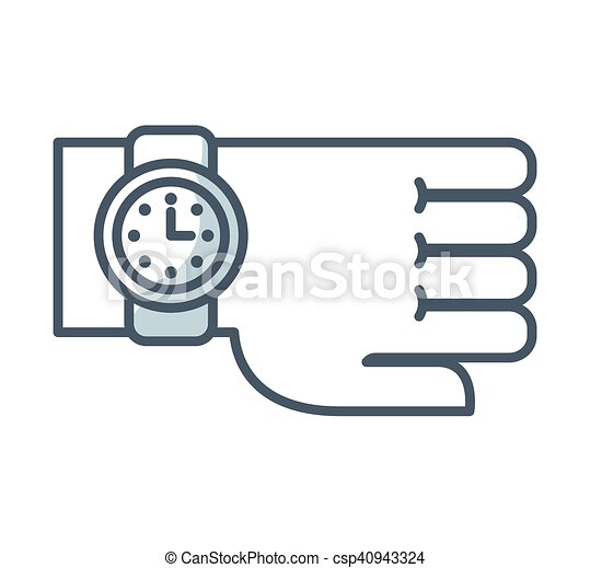 time clock watch flat icon - csp40943324
