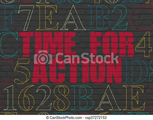 Time concept: Time for Action on wall background - csp37272153