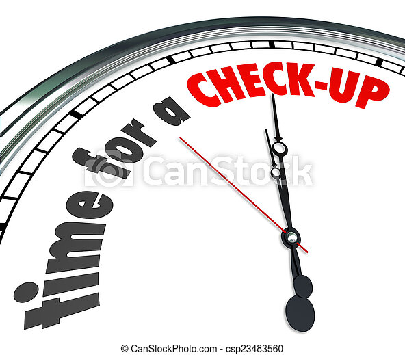 Time for A Check-Up Words Clock Physical Exam Evaluation - csp23483560
