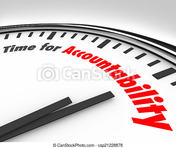 Time for accountability words clock take responsibility ...