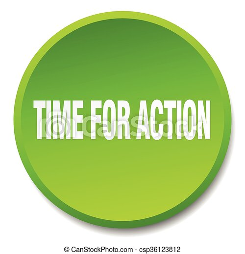 time for action green round flat isolated push button - csp36123812