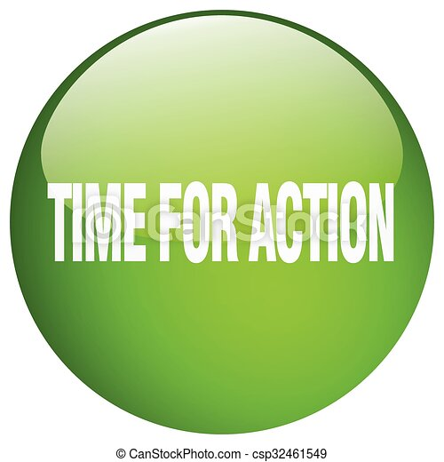 time for action green round gel isolated push button - csp32461549