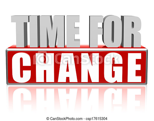 time for change in 3d letters and block - csp17615304