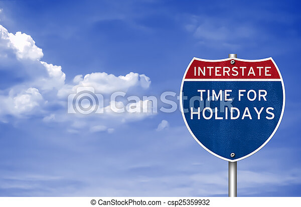 Time for holidays road sign concept - csp25359932