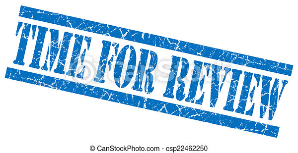 time for review blue square grunge textured isolated stamp - csp22462250