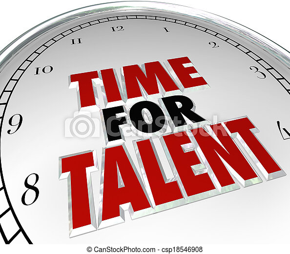 Time for Talent words on a white clock face to illustrate a search for skilled workers, job candidates and people with desired abilities who want a new career - csp18546908