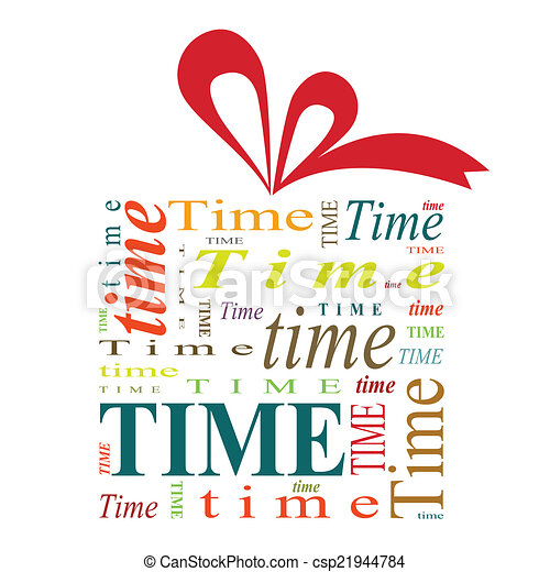 Vector of Time gift - Illustration of gift box with red ribbon ...