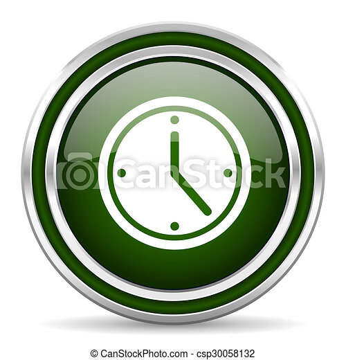 time green glossy web icon - csp30058132