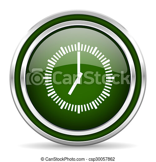 time green glossy web icon - csp30057862