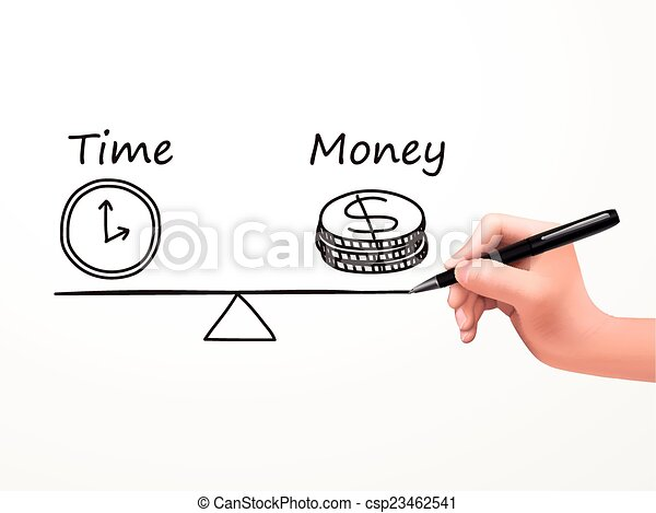 time is money icon drawn by human hand - csp23462541